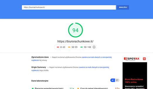 biurorachunkowe.it - wynik testu po optymalizacji speedupninja.com dla testu Google Page Insight