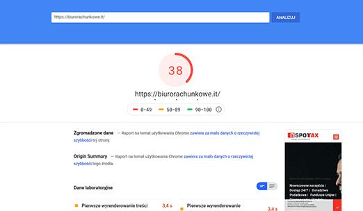 biurorachunkowe.it - wynik testu z przed optymalizacji speedupninja.com dla testu Google Page Insight
